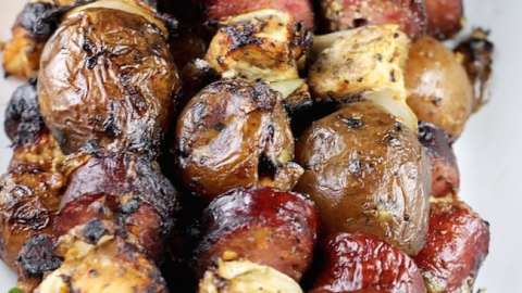 Easy Smoked Sausage, Chicken and Potato Kabobs