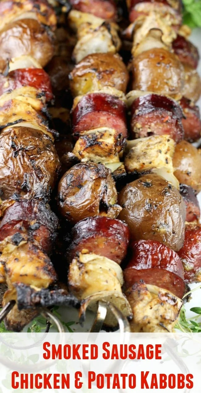 Smoked Sausage, Chicken & Potato Kabobs with vidalia onions