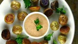 Salt Crusted Mini Medley Potato Bites with Skinny Come Back Sauce