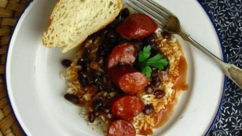 Smoked Sausage & Black Beans with Sweet Barbecue Sauce