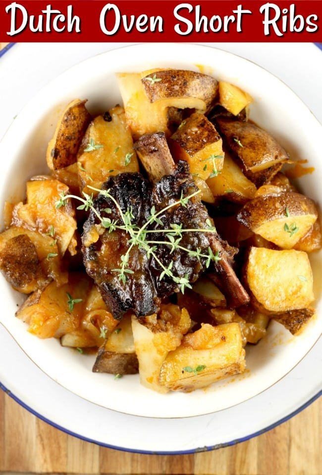 Dutch Oven Short Ribs with potatoes and onions is slow cooked over a campfire or in your oven create the most tender and flavorful beef ribs that you have ever tried. This recipe is surprisingly simple and incredibly delicious! #campfire #dutchoven #comfortfood #beefribs #shortribs #missinthekitchen