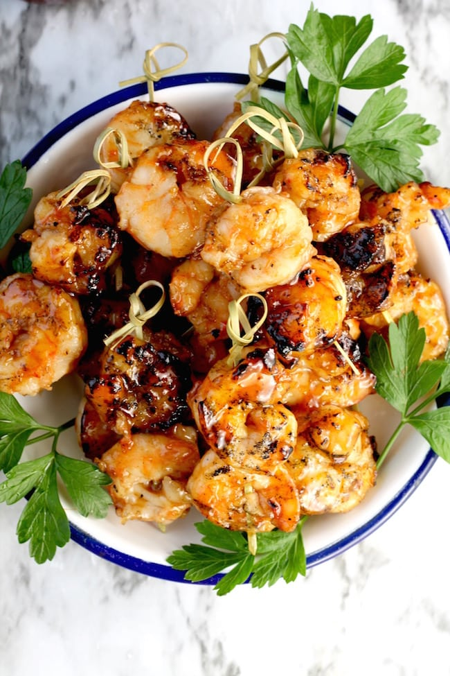 Easy Barbecue Grilled Shrimp served as an appetizer on party picks