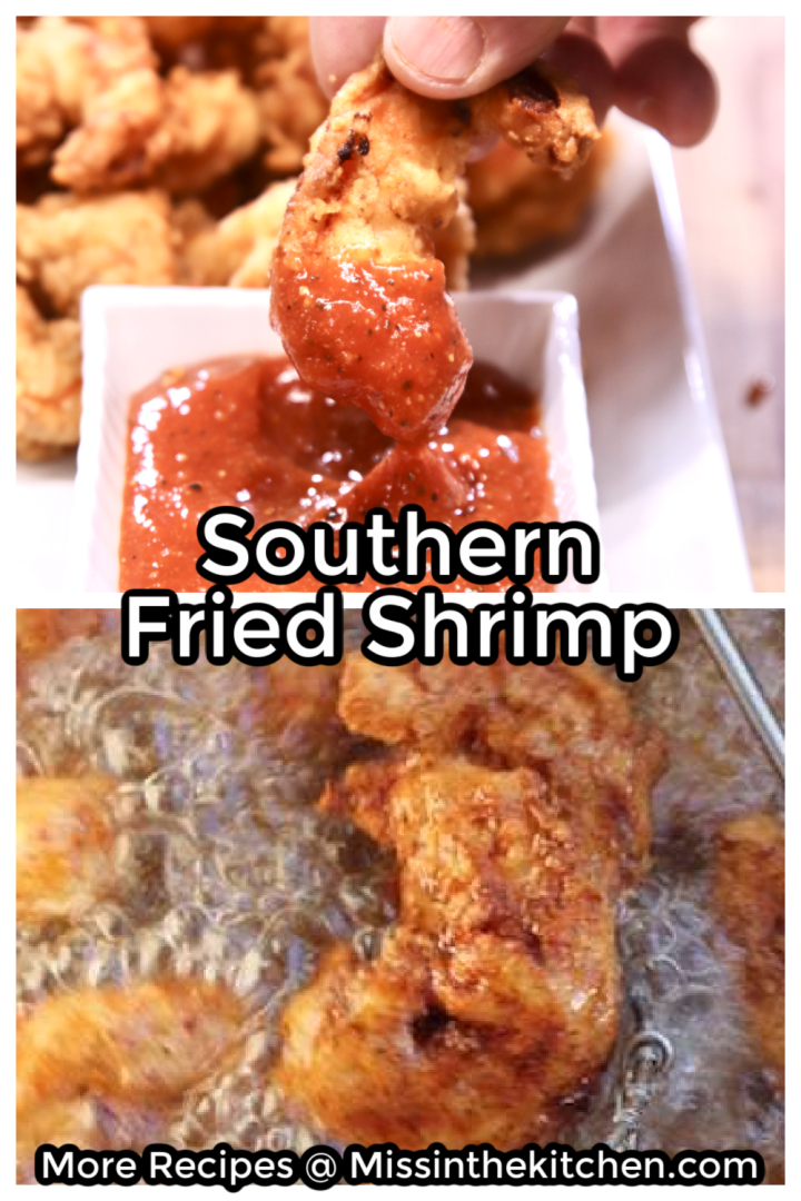 Collage of dipping fried shrimp in cocktail sauce and deep frying