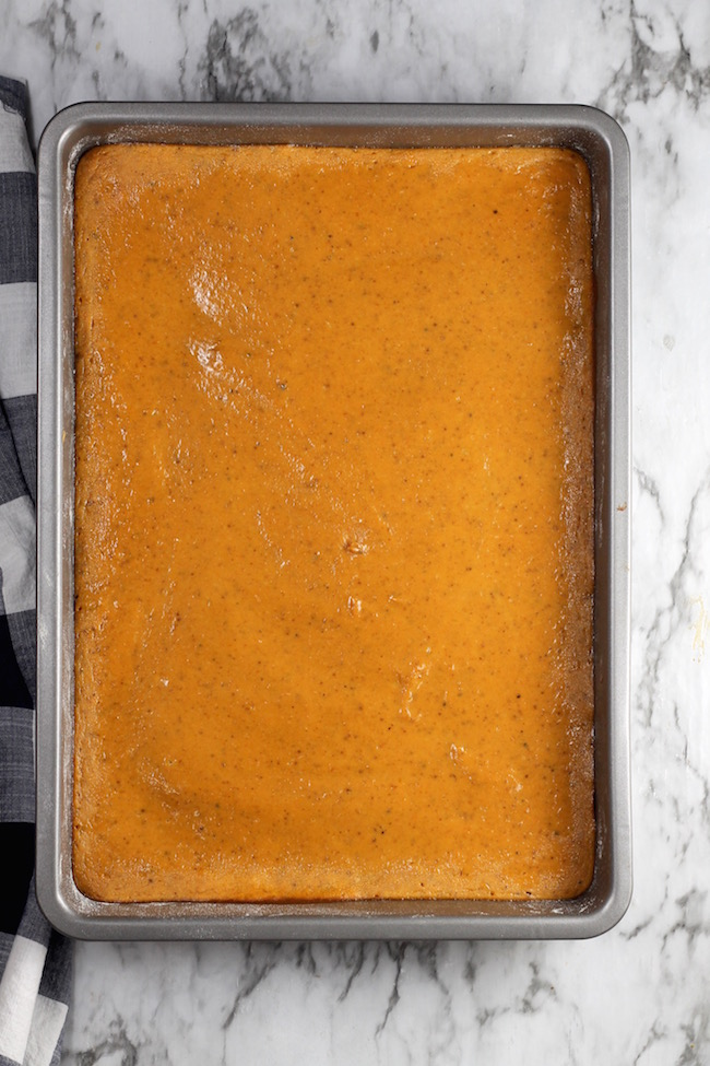 Pumpkin Pie Bars baked in a 9 x 13 pan