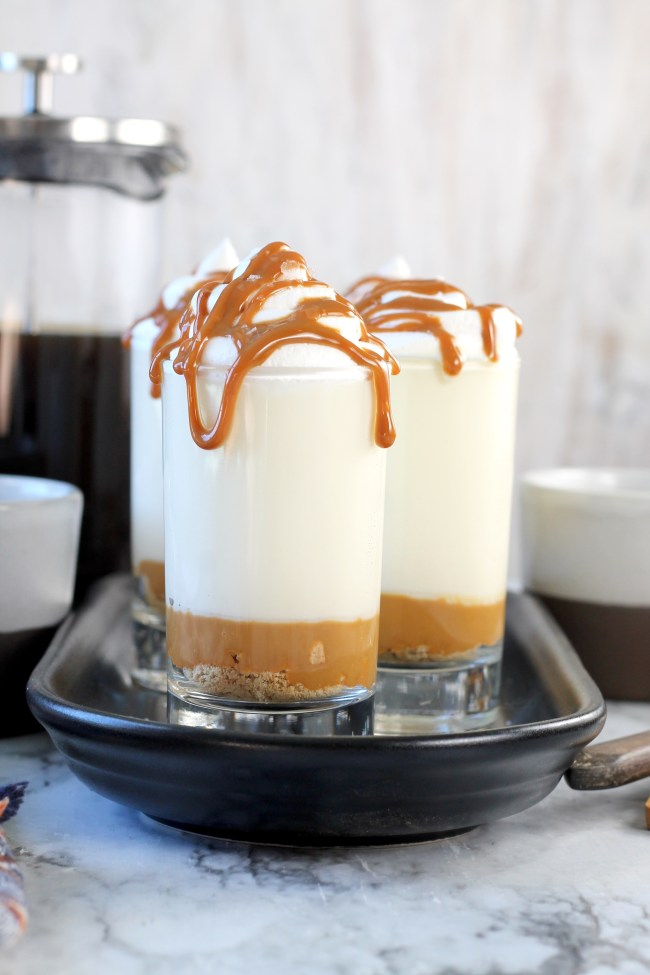 Easy No Bake Caramel Macchiato Cheesecakes
