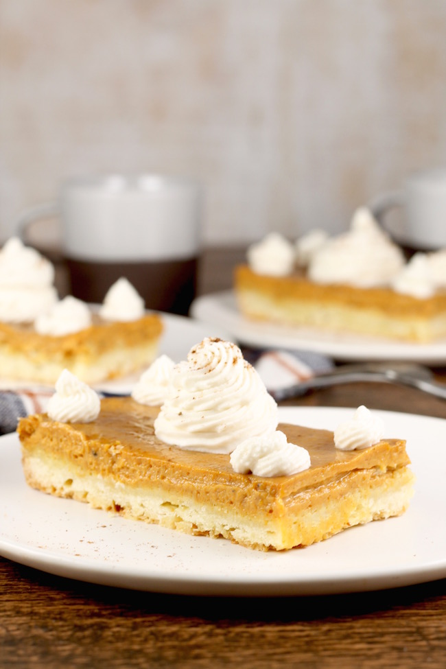 Easy Pumpkin Pie Bars with sweetened whipped cream