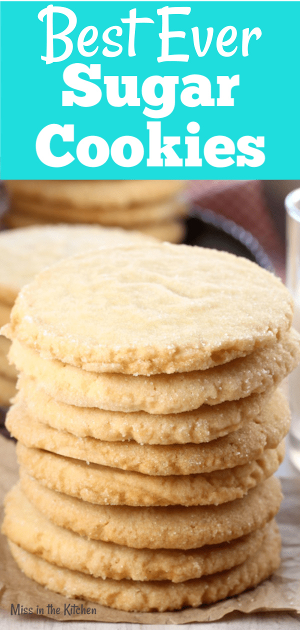 Stack of The Best Ever Sugar Cookies for holiday baking