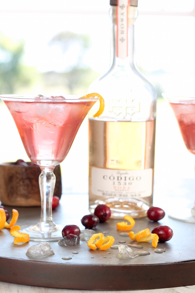 Easy Cranberry Tequila Old Fashioned Cocktail