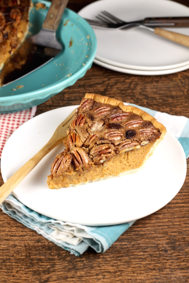 Slice of Pumpkin Pecan Pie with whole pecans and Wewallka Pie Crust