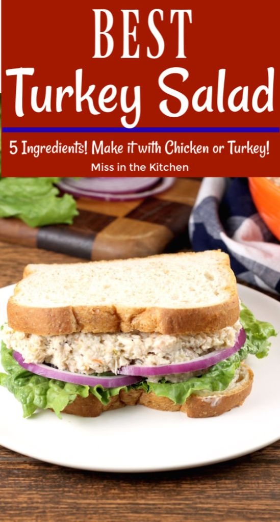 Turkey Salad Sandwich with red onion and lettuce