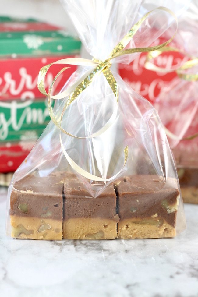 Two Tone Fudge packaged for holiday goodie baskets