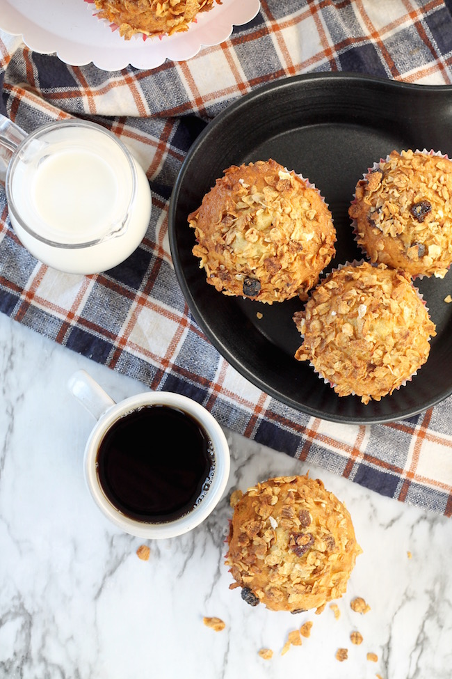 Simple Breakfast Muffins with milk and coffee