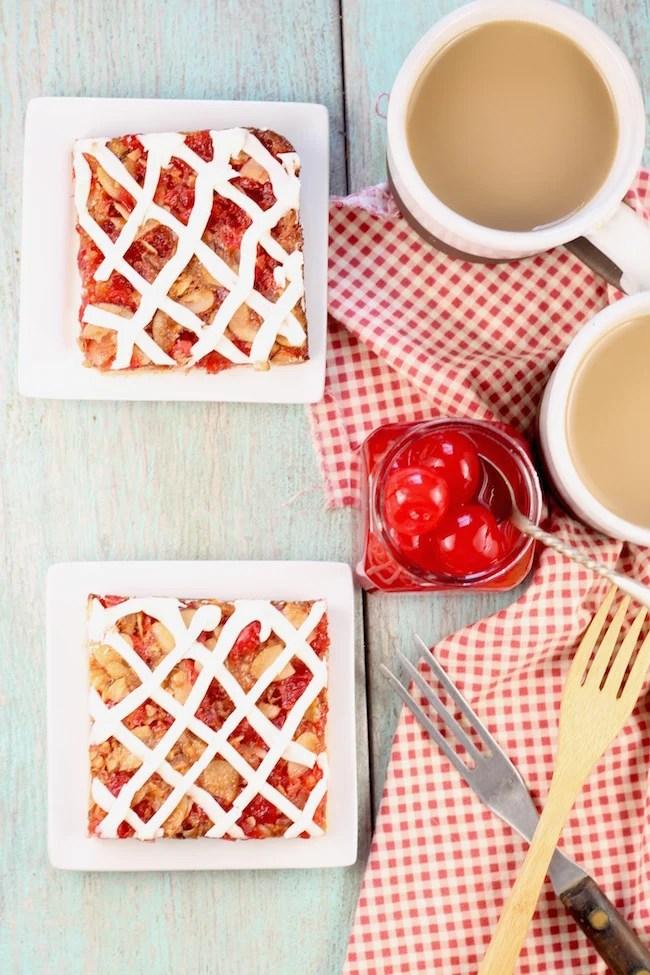 Cherry Almond Dessert Bars with cream cheese icing