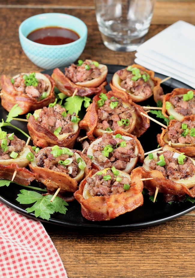 Loaded Potato Skins with beef and cheese