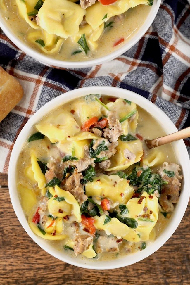 Easy Tortellini Soup ~ Creamy and delicious with sausage and spinach