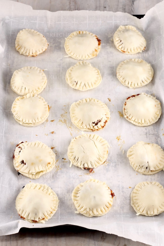 Baking Sheet with Mini Barbecue Meat Pies