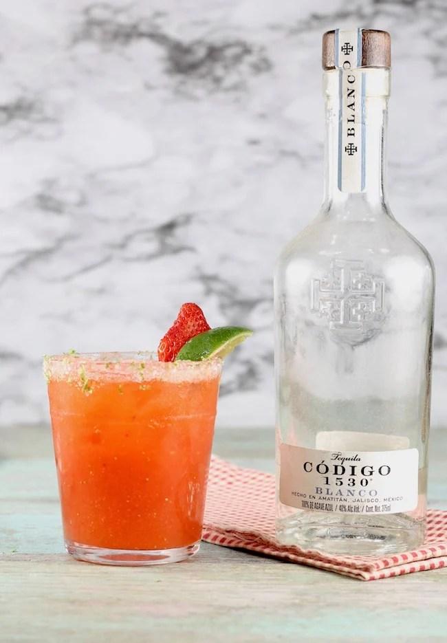 Strawberry Margarita made with Codigo 1530 Blanco Tequila