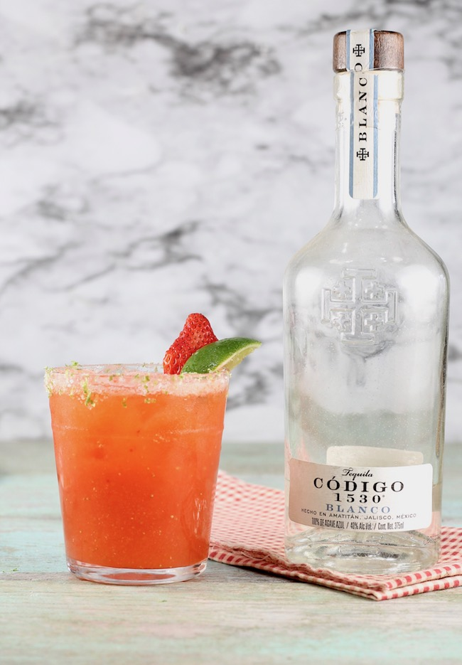 Strawberry Margarita made with Codigo 1530 Blanco Tequila