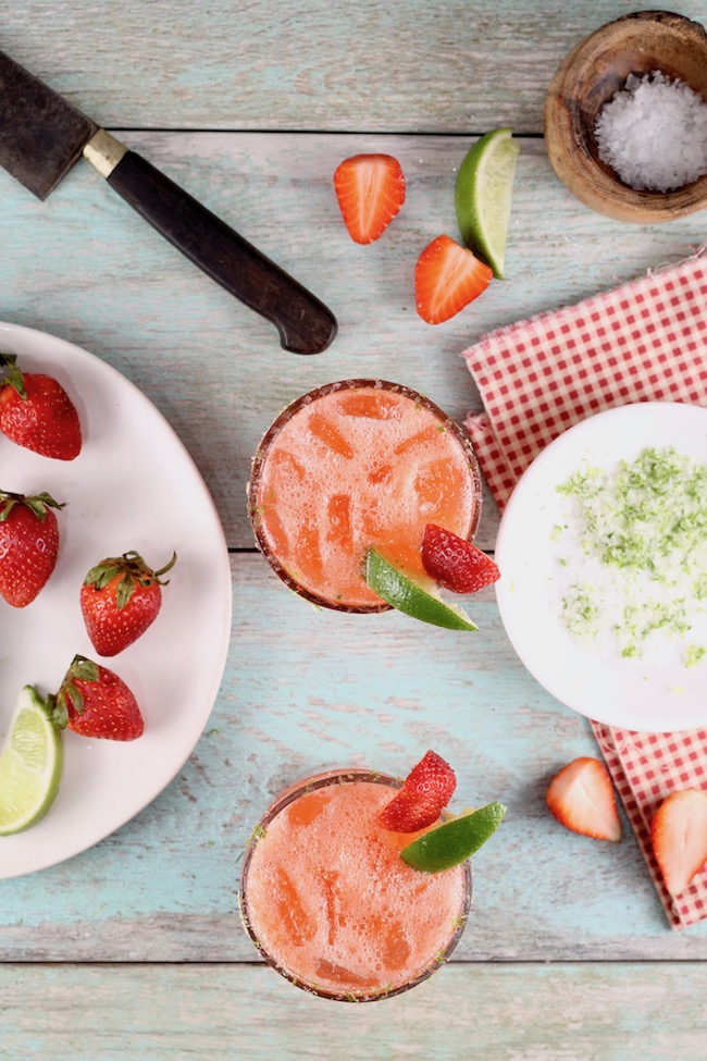 Strawberry Margaritas with fresh strawberries, fresh lime and tequila