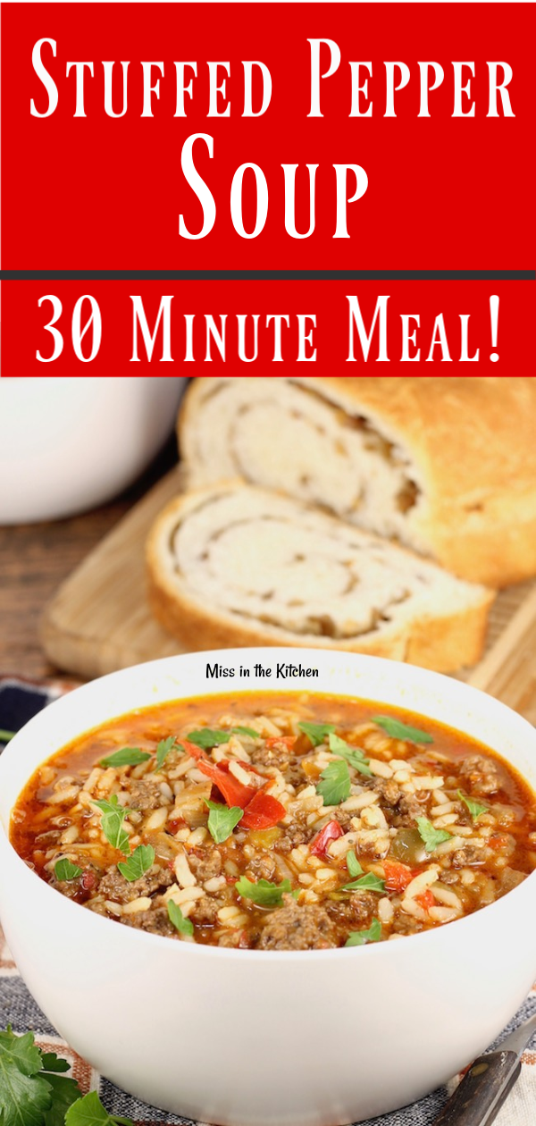 Easy Stuffed Pepper Soup Recipe with ground beef