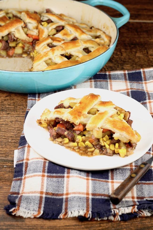 Venison Steak Pot Pie with double crust