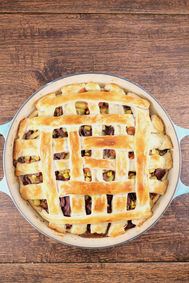 Venison Steak Pot Pie with lattice puff pastry crust