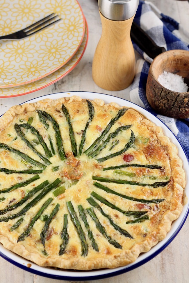 Asparagus Quiche baked with bacon and cheese