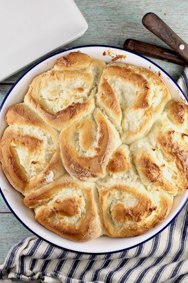 Pan of Coconut Cream Pie Sweet Rolls