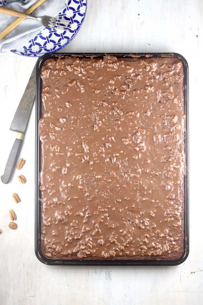 Texas Sheet Cake with chocolate pecan frosting