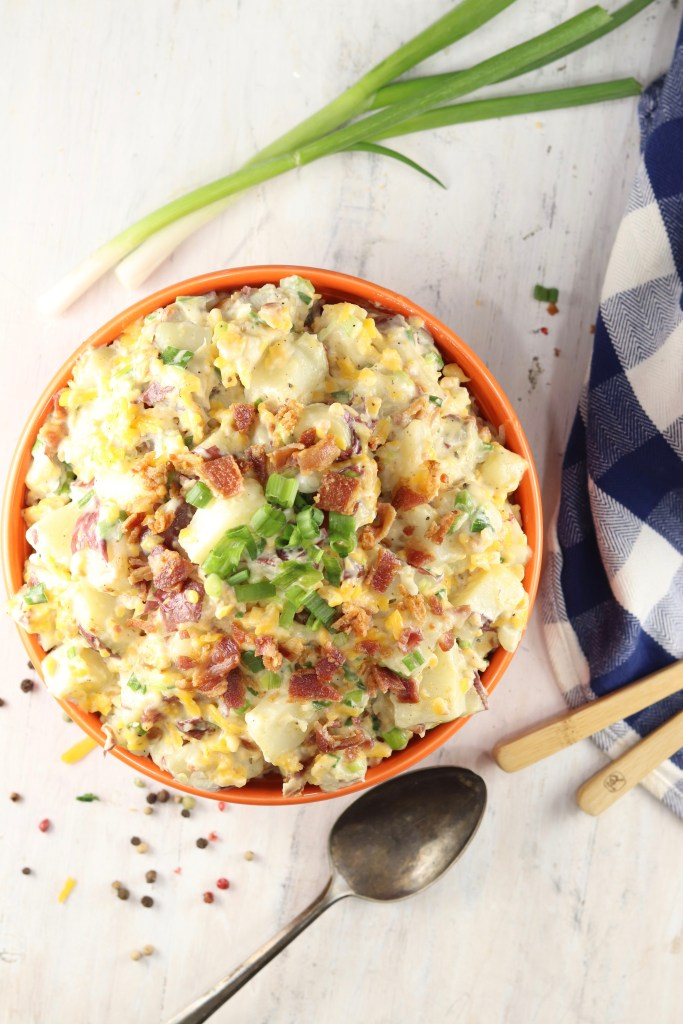 Creamy Potato Salad with bacon, cheddar cheese, green onions