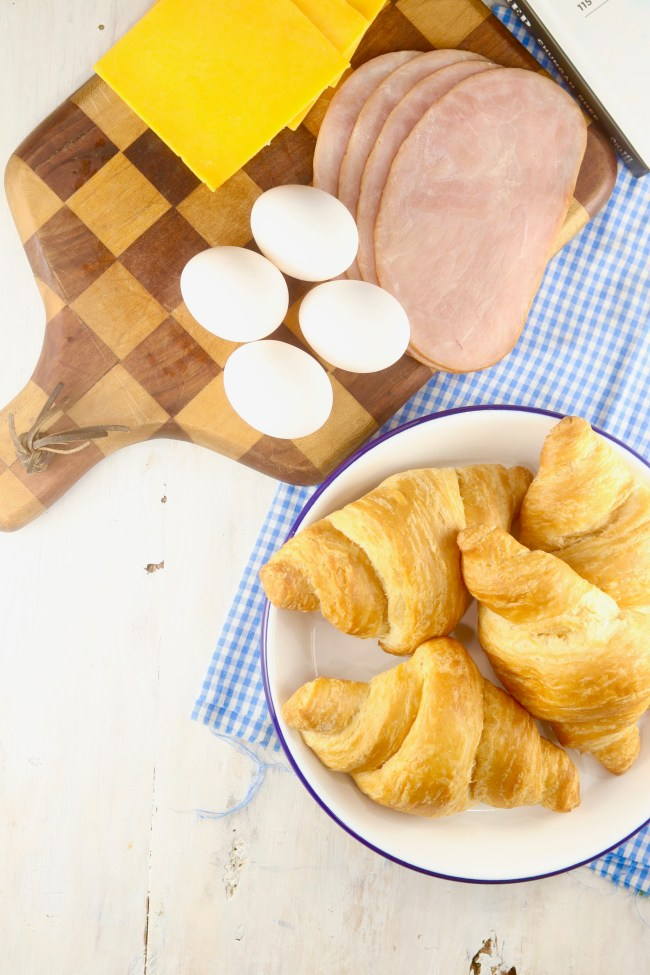 Ingredients for Meal Prep Freezer Breakfast Croissant Sandwiches, ham, eggs, cheese, croissants