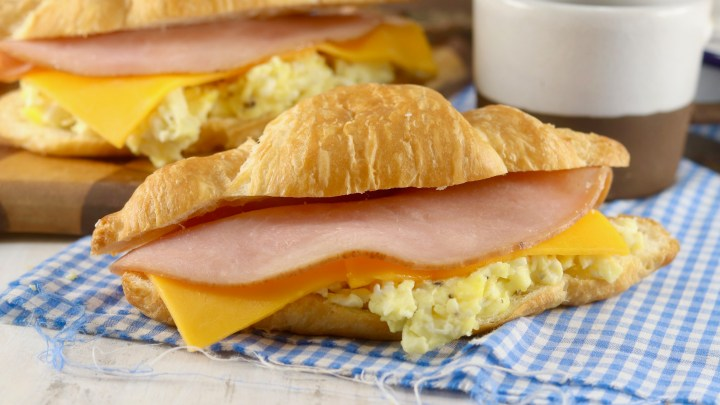 Freezer Breakfast Croissant Sandwiches with eggs, ham and cheese