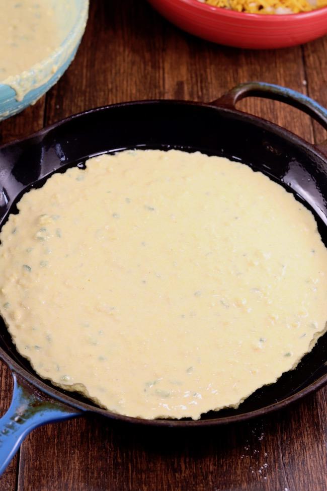 Mexican Cornbread - first layer of cornbread batter