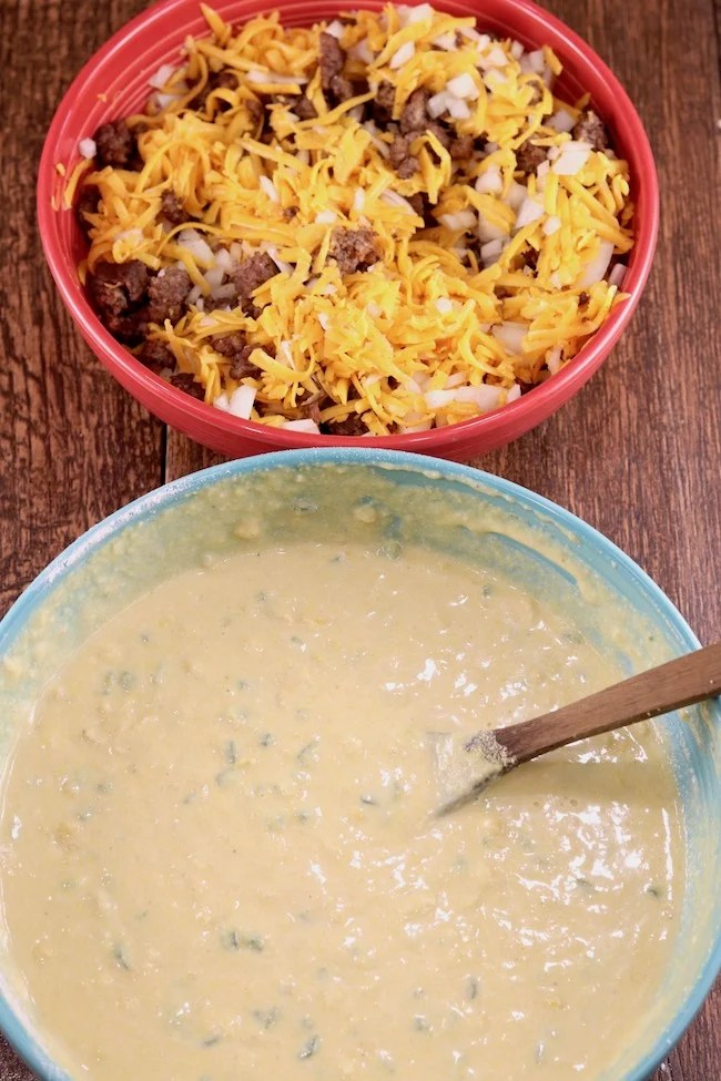 Mexican Cornbread batter and ground beef mixture