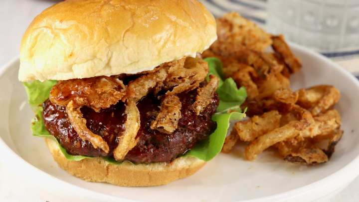 BBQ Burgers - homemade barbecue sauce, topped with crispy onion strings