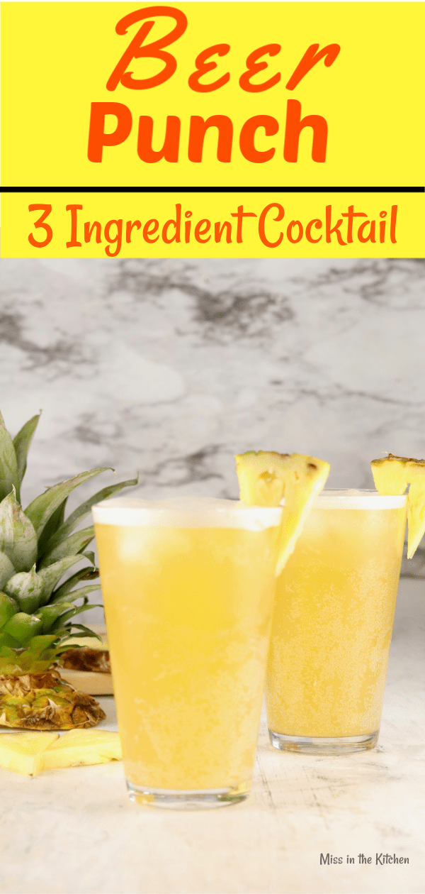 2 glasses of beer punch garnished with pineapple