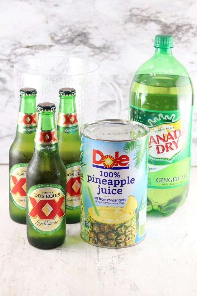 Ingredients for Beer Punch - Beer, Ginger ale, Pineapple Juice