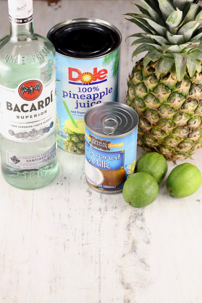 Ingredients for pina coladas