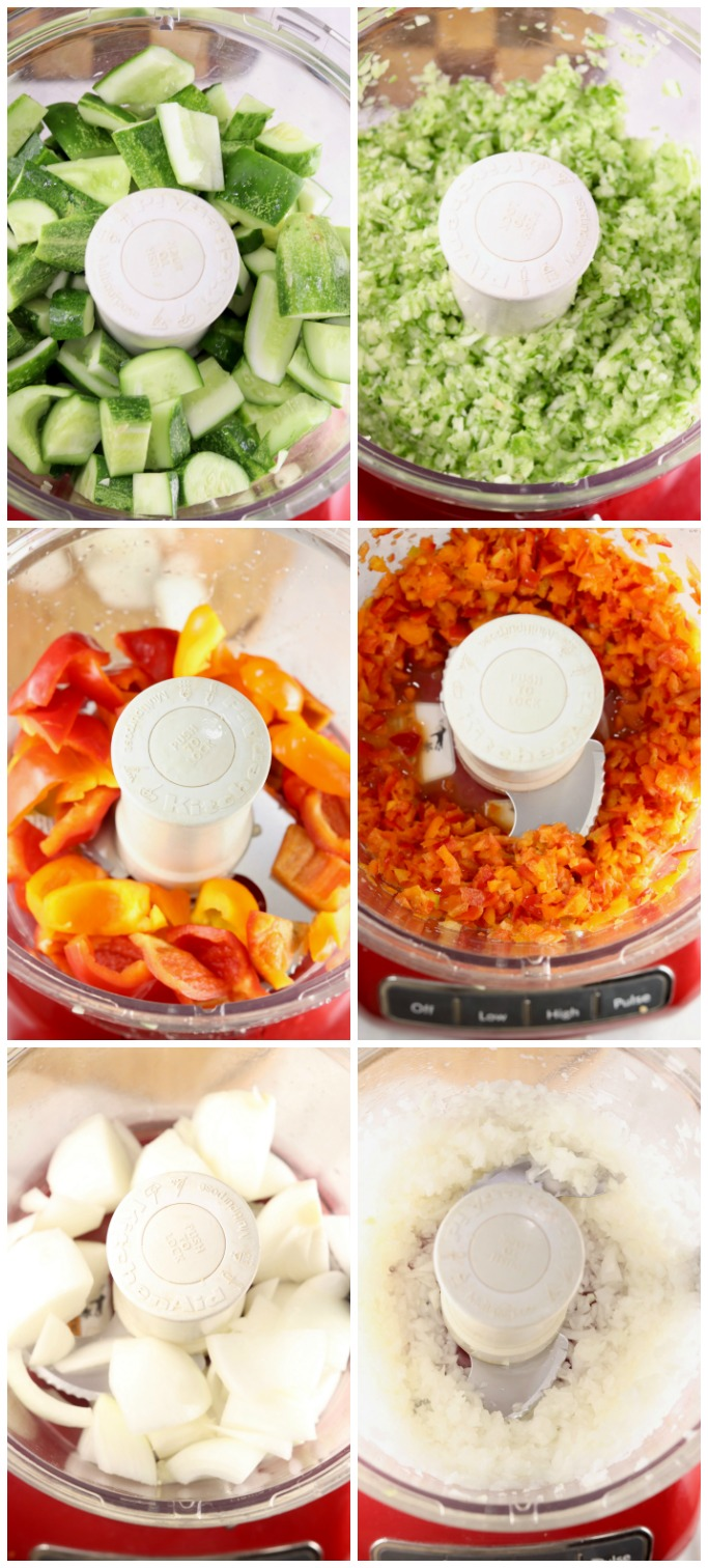 Food Processor Collage chopping cucumbers, peppers, onions