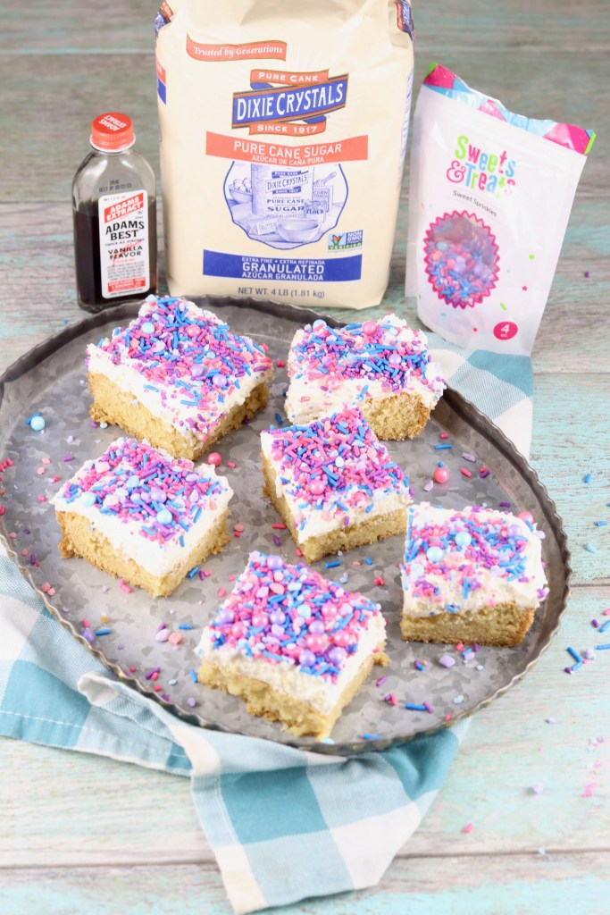 Dixie Crystals Sugar, Adam's Vanilla Extract and Sprinkles with cookie bars