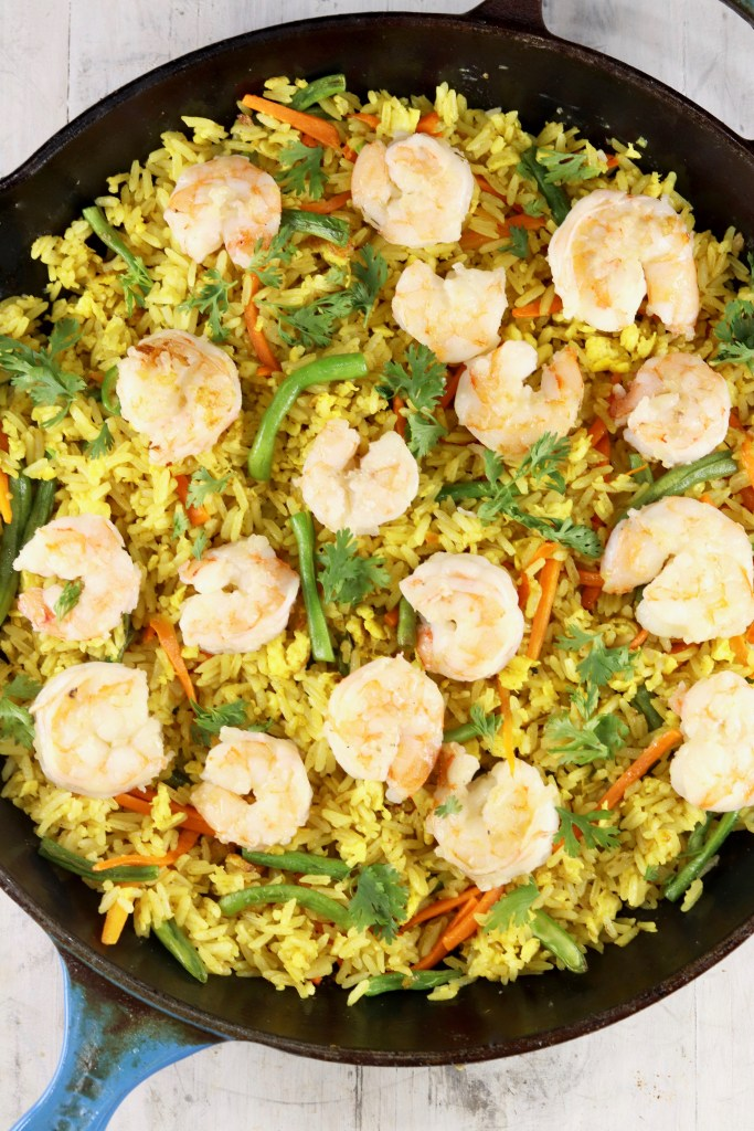 Shrimp Fried Rice in a cast iron skillet