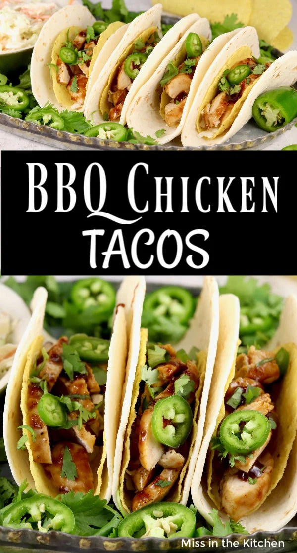 BBQ Chicken Tacos with text overlay