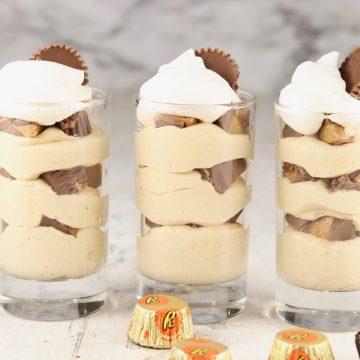 3 glasses of peanut butter parfait