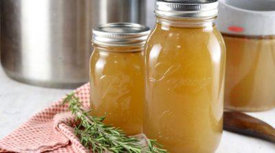 Jars of homemade stock
