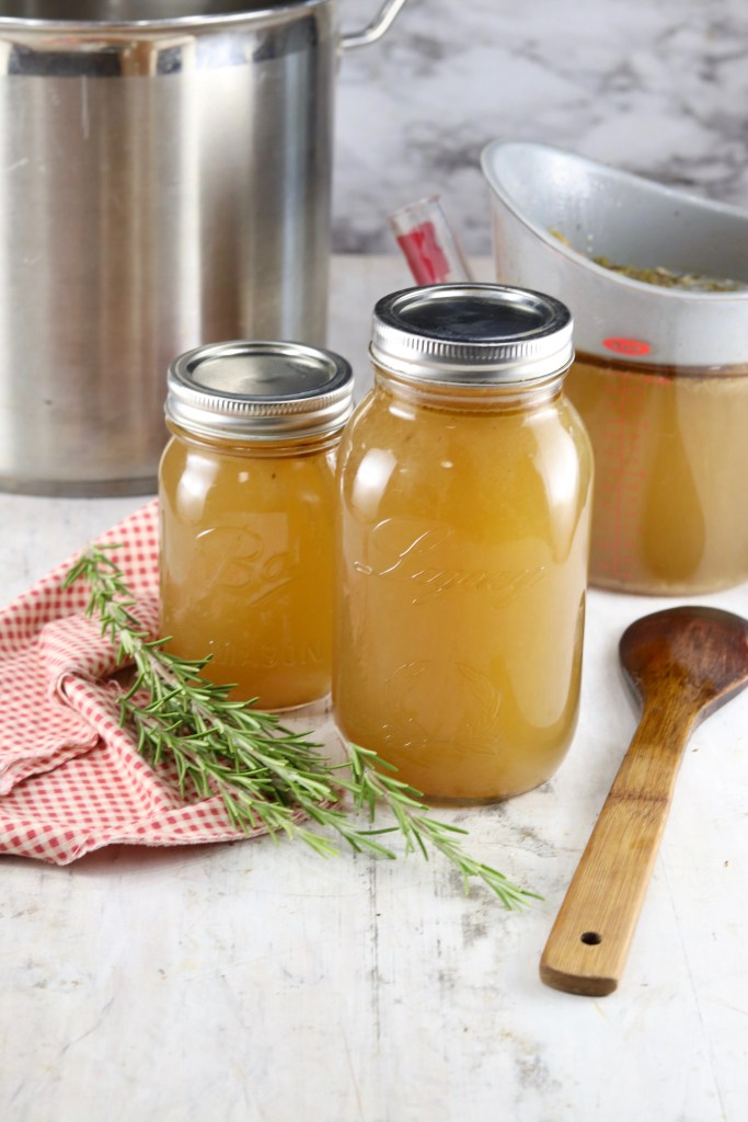 Turkey Stock in jars for soup
