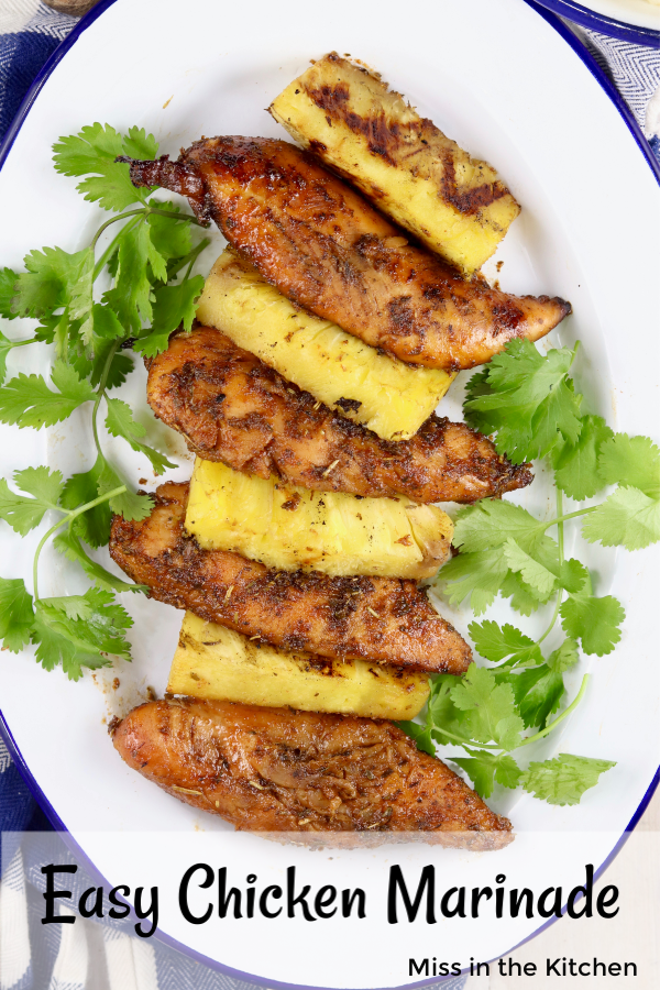 Text overlay ~ Easy Chicken Marinade - with grilled pineapple