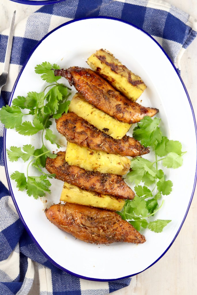 Oval platter with grilled chicken tenders and pineapple