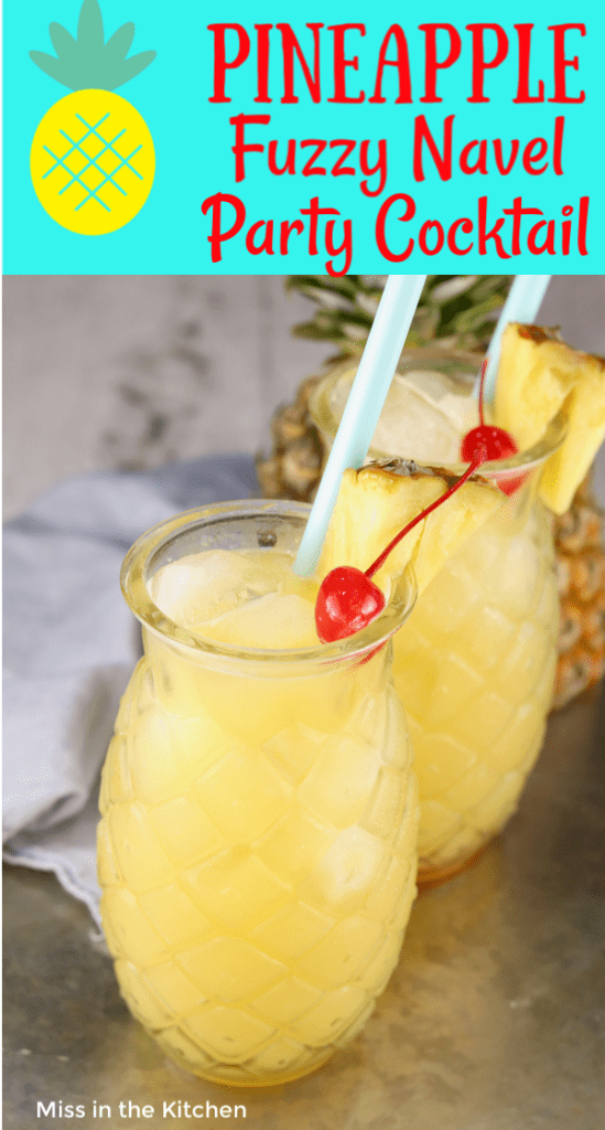 Pineapple cocktails with cherry garnish