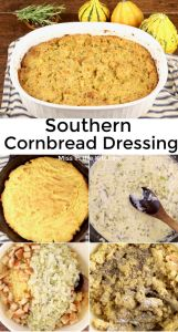 Southern Cornbread Dressing Collage