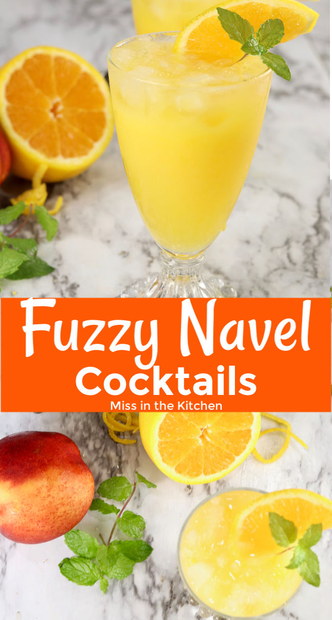 Fuzzy Navel drink with text overlay collage